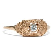 Art Déco inspired: 750 Roségold Ring mit 0,11 ct Diamant Brillant Verlobungsring