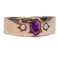 Um 1890: Antiker Amethyst & Perlen RING in 333 Gold / Amethystring Perle