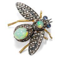 Fliege! Vintage Insekten Brosche mit Opal, Saphir & Diamanten in Gold & Silber