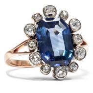 Antiker 5,20 ct Saphir Ring mit Diamanten um 1880 Altschliff Rotgold Gold