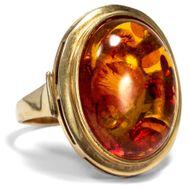 Schöner vintage BERNSTEIN RING in 333 Gold Ostsee Baltic Butterscotch Amber 老琥珀