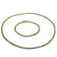 Vintage Set: Armband & Kette aus  585 GOLD & Diamanten Gelbgold Panzerkette
