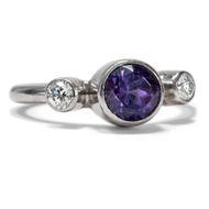 Trilogie Ring aus Platin Diamant & Tansanit, vintage Verlobungsring, Brillanten