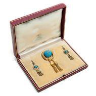 Bombé Demi-Parure! Türkis Diamant Ohrringe & Medaillon Brosche in Gold, um 1845
