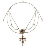 Ochsenfurter Gautracht: Antike Kreuz Kette, Gold Silber, Trachtenschmuck Franken