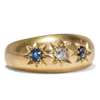 Treueschwur aus Edelsteinen - Hochwertiger edwardianischer Gypsy-Ring mit Saphir & Diamanten, Birmingham 1908. Photo © 2019 Hofer Antikschmuck Berlin