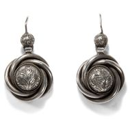 Victorian um 1890: Antike Knoten Ohrringe aus Silber / Lovers Knot Earrings