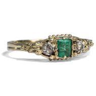 Um 1880: Antiker RING aus 585 Gold, Smaragd & Diamanten, Diamant Emerald Diamond
