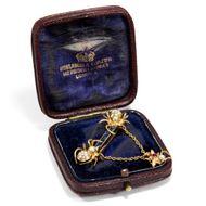 Im Netz der Spinnen. Britische Gold Perlen Saphir & Rubin Brosche, um 190