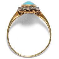 Himmelblau und Sternenweiß - Antiker, eindrucksvoller Ring mit Türkis & Diamanten, um 1920. Photo © 2018 Hofer Antikschmuck Berlin