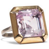 Weniger ist mehr? vintage Ring, Spinell in Gold & Silber, um 1985 / Violett lila