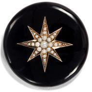 Victorian 1885: Antike Medaillon Brosche in Onyx, Gold & Perlen, Tauer Mourning
