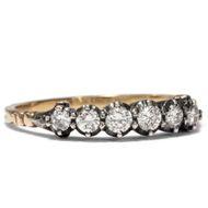 Funkelnde Reihe. Vintage Diamant Ring, 585 Gold & Silber, Niederlande nach 1955