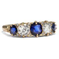 Antiker Saphir & Diamant Ring, um 1890, Gold 750 / Verlobungsring Victorian