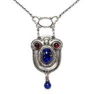 Jugendstil Collier von Alfons Ungerer, Granat Lapis Lazuli Silber Berlin um 1910