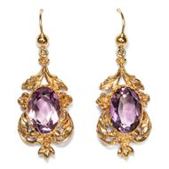London 1972: Vintage Ohrringe aus Gold & Amethyst, gold earrings