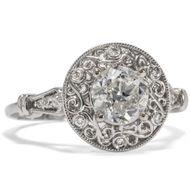 0,98 ct Diamant Solitär Ring in 585 Weißgold: Einkaräter Brillant Verlobung