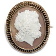 Wunderbare Kamee: Göttervater Zeus um 1870 Gold 585 CAMEO Brosche Gemme