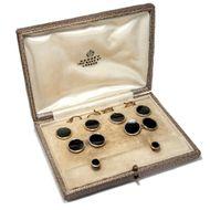 Um 1920: Manschettenknöpfe aus Gold, Platin & Onyx, Asprey Knöpfe, Cufflinks