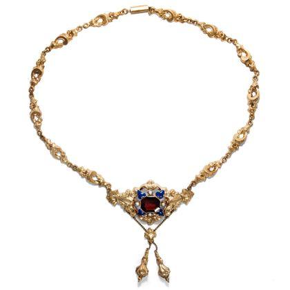 Goldenes Biedermeier - Wundervolles Schaumgold-Collier mit Granat, Email & Perlen, um 1840. Photo © 2018 Hofer Antikschmuck Berlin