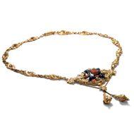 Goldenes Biedermeier - Wundervolles Schaumgold-Collier mit Granat, Email & Perlen, um 1840. Photo © 2019 Hofer Antikschmuck Berlin