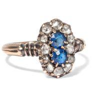 Um 1880: Antiker RING mit blauen Schmucksteinen & Diamanten, Verlobungsring