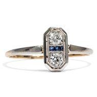 Jugendstil um 1910: Antiker Ring aus Diamanten, Gold & Platin / Verlobungsring