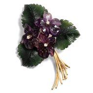 Vintage Veilchen Brosche aus Amethyst, Diamant, Nephrit & 585 Gold Violet Brooch