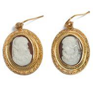 Historismus um 1875: Antike Gemmen Ohrringe, Gemme Gold Kamee Cameo Maria Stuart