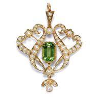 Victorian um 1895: Antiker 625 Gold Anhänger mit Peridot & Perlen, Naturperlen