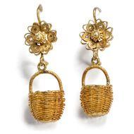 Ausflug ins Hameau: Antike Biedermeier Korb Ohrringe Gold um 1820 / Ohrhänger