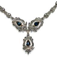 Prachtvolles Saphir & Diamant Collier aus Silber & Gold, Italien um 1960 / Kette