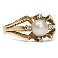 Fifties! Vintage RING aus 585er Gold & Perle, Perlring / Vintage 14ct Pearl Ring