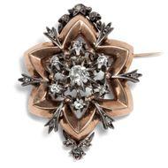 Antike Stern Brosche mit Diamanten in Gold & Silber, um 1880 Star Belle Époque