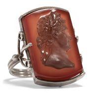 Um 1925: Antiker Silber Ring mit Carneol Gemme des Napoleon, Herrenring Cameo
