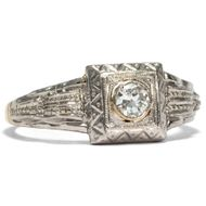 Antiker Diamant RING des Art Déco, Platin auf Gold, um 1925 / Verlobungsring