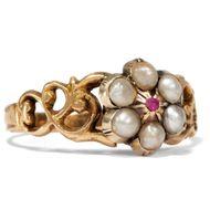 England um 1825: Antiker RING mit Rubin & Perlen in 750 Gold / Verlobungsring