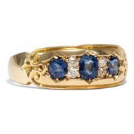 Antiker Saphir & Diamant RING Gold Diamanten gypsy ring victorian Verlobungsring