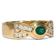 Massiver DIAMANT & SMARAGD RING in 750er Gold / Bandring Diamond 18K emerald