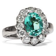 Feiner vintage Ring mit grünem Turmalin & Brillanten 585 Gold & Weißgold um 1965