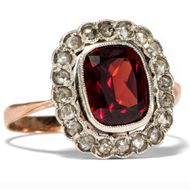 Antiker GOLD RING mit feinem Granat & Diamanten, Garnet Carbuncle