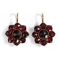Antike böhmische Granat Ohrringe - Blüten, Granate Norm Gold Garnet Earrings