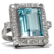 Großer Aquamarin Ring mit Diamanten, Art Déco um 1938 / Diamant Weißgold