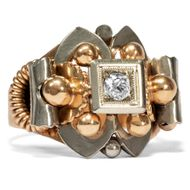 Italien um 1950: Antiker 750 Gold RING mit Altschliff Diamant / Art Déco Retro