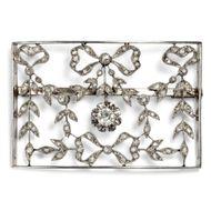 Delikate große Garland Style Brosche in Platin & Diamanten, Frankreich um 1915