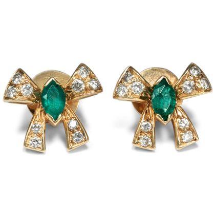 Gebunden oder ungebunden? - Vintage Ohrringe Gold, Smaragd & Diamanten, um 1985. Photo © 2019 Hofer Antikschmuck Berlin