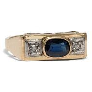 Art Déco Ring aus 585er 14ct Gold mit Saphir und Diamanten, 1930er Jahre