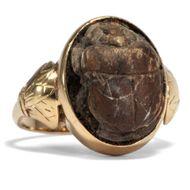Antiker Ring in 750 Gold mit antikem ägyptischen Skarabäus Pharao Ägypten Scarab