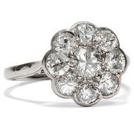 Um 1930: Antiker Platin Ring mit 1,52ct Diamanten Diamant Verlobungsring Daisy