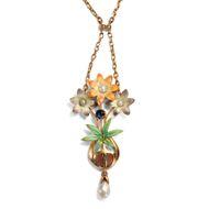 Bezaubernde Blumen - Anmutiges Jugendstil-Collier aus Gold, Email, Saphir & Perlen,  Großbritannien um 1900. Photo © 2019 Hofer Antikschmuck Berlin